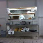 Servery area, Untidy & exposed to Customers