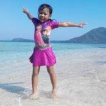 beatiful beach with happy kid