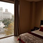 view from our bed overlooking Plaza Catalunya