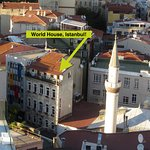 Picture of the hostel from the top of Galata Tower.