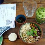 rice, chickpeas, sprouts, beetroot bowl
