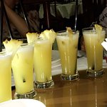 Fresh pineapple juice. Delish!