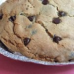 Huge Chocolate chip cookie pie hot from the oven