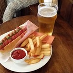 Hotdog, Chips and Pint Deal.