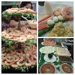 Cascata de camarão do Réveillon e sobremesas