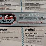 Stock Car Cafe menu