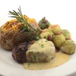 Grilled Hanger Steak with Classic Bearnaise Sauce, Baked Potato and Brussel Sprouts
