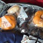My bag bringing bagels home.