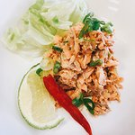 Spicy Salmon salad and Duck red curry delicious!!