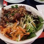 Vermicelli and grilled beef and chicken