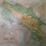 Old 1940's map of Costa Rica near the dining room