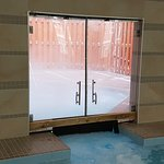 Swinging doors to outdoor hot tub are sealed. Have to dunk your head to get under them.