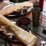 Keralan Masala dosa ~ Indian lentil pancake filled with potato & pea masala