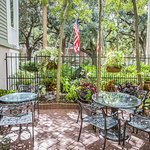 The private courtyard provides a pretty and peaceful spot to enjoy breakfast, wine, or conversat