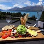 Our delicious lunch platter overlooking the view of Lake Ohau from the Lodge balcony.