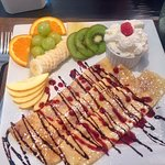 Fruit filled crepes DELICIOUS! The Hen and Hog Cafe 1190 Cliffe Ave, Courtenay, British Columbia