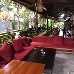 Comfortable seating near the entrance and bar