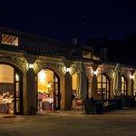 Restaurant at night with open doors