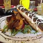 Salmon with sweet potato chips & rocket salad, Bingil Bay Cafe, Mission Beach