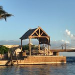 """late afternoon view of the bridge to the resort's """"island"""""""
