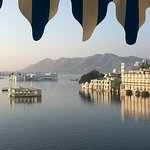 A view of the Lake Palace from the roof top terrace of The Jheel Paying Guest house. For a lake