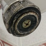 The shower head which badly needs replacing
