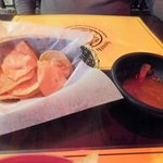 Corn chips and salsa were so fresh and good that we almost finish them