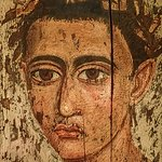Encaustic Mummy Portrait of a young Man wearing a gold fillet Hawara Egypt Roman Period 1st - 2n