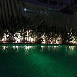 The pool at night time