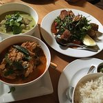 Crispy Pork, Red Chicken Curry, Green Fish Curry & Rice