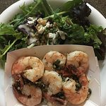 The Garlic Shrimp over rice with a green salad