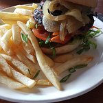 Beef burger with chips, hold the beetroot - $18.50