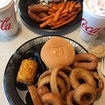 Corn, onion rings, hush puppies, and pork barbeque... $7.99
