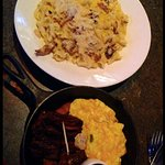 Macaroni & Cheese Squared and Skirt Steak with Cheesy Eggs