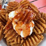 Potato waffles not wedges. Not as good as the wedges they used to do