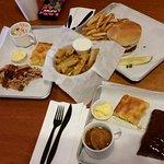 Brisket, bones, burger, corn bread. PICKLES!