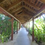 about 1/3 of walkway from reception to beachfront unit rooms