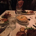 Steak and grilled shrimp, steak and crab cakes, ribeye steak upgrade and crabcake with potato di