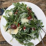The rocket salad, Il Gambero & Blue Pig pizzas, & caprioska