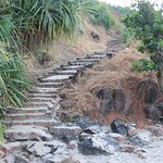 The long staircase access to the beach from the bottom to reach to the top