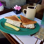 Smoked fish spread sandwich and cup of Manhattan Clam chowder