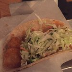 Fish taco with fried fish and crepe brûlée - not bad, but not great for the price paid