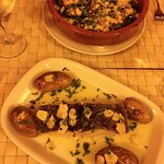 fish and potatoes, mussels with cheese