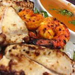 Shrimp and Kalmi Chicken