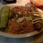 Chile Relleno and Veggie Enchilada with Boom Boom Sause and rice and beans