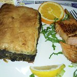 Spinach pie and salmon