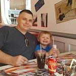 American vanilla coke and strawberry milkshake for little man