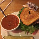 Today's special - turkey on soudough, roasted red pepper & gouda soup.