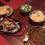 Garlic naan, beef kebab, palak paneer and mutton curry