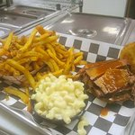 Brisket, Mac and fries.....perfect meal!